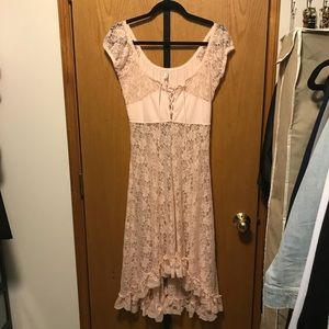 Intimately Free People Hi-Lo Lace Slip Blush Pink